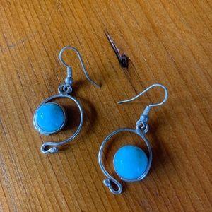Larimar hook earrings